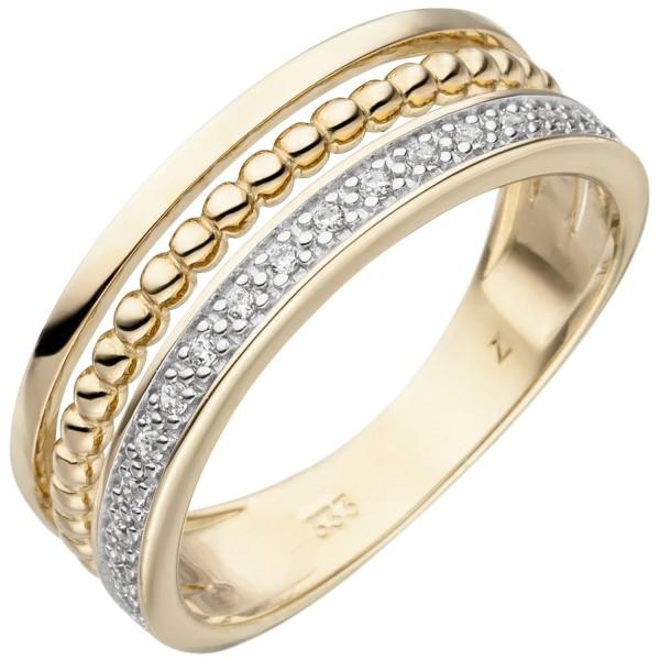 Damen Ring 333 Gold Gelbgold bicolor 17 Zirkonia Goldring