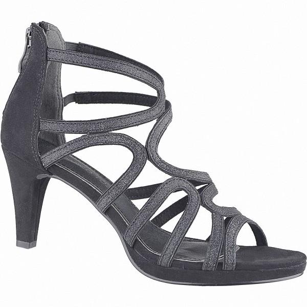 Marco Tozzi glamouröse Damen Leder Imitat Sandaletten schwarz, weiche Decksohle, weiche Laufsohle