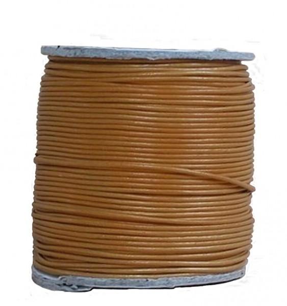 endlos Ziegenleder Rundlederriemen Rolle bronze metallic, für Lederschmuck, Lederarmbänder, Länge 100 m, Ø 1 mm