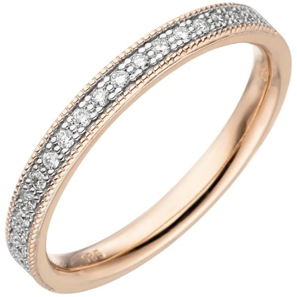 Damen Ring 585 Gold Rotgold 19 Diamanten Brillanten