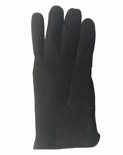 Herren Velourleder Lammfell Fingerhandschuhe aus Fellstücken schwarz, Herren Fell Handschuhe