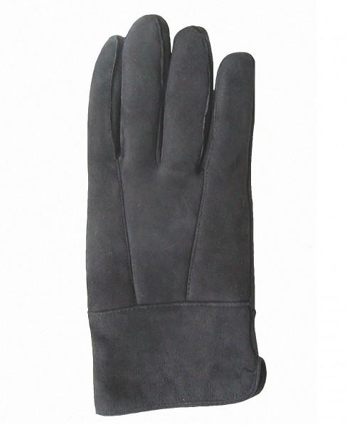Damen Velourleder Lammfell Fingerhandschuhe lang aus Fellstücken dunkelgrau, Damen Fell Handschuhe