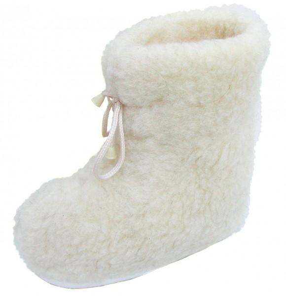 superwarme und weiche Damen Woll Hausschuhe hoch beige waschbar, 100% Merinowolle, rutschfeste Sohle