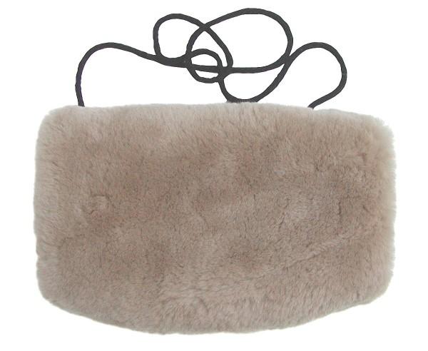 warmer Lammfell Pelzmuff, Felltasche taupe mit Reißverschlusstasche waschbar, geschorenes Lammfell, ca. 29,5x19 cm