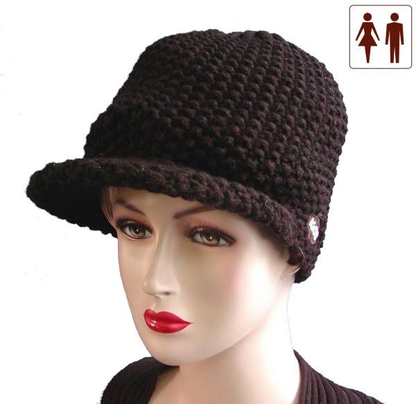 Damen und Herren Woll Strickmütze mit Schirm dunkelbraun, Wintermütze