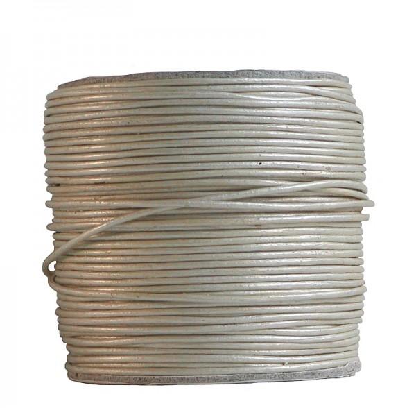 endlos Ziegenleder Rundlederriemen Rolle perle metallic, für Lederschmuck, Lederarmbänder, Länge 100 m, Ø 1 mm