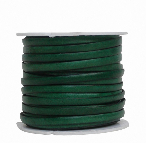 Ziegenleder Lederriemen, Lederband flach grün, Kanten schwarz gefärbt, Länge 25 m, Breite ca. 5 mm, Stärke ca. 1,0 mm