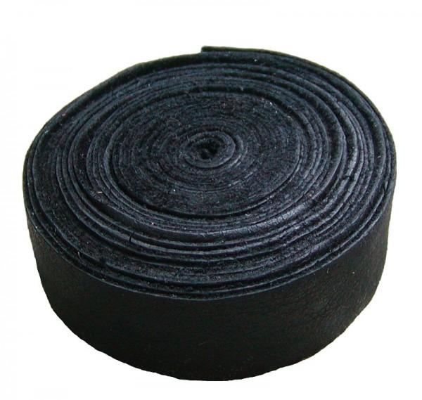 Lederband Einfassband Rindleder schwarz, vegetabil gegerbtes Leder, Länge 10 m, Breite 15 mm, Stärke ca. 0,9 / 1,1 mm