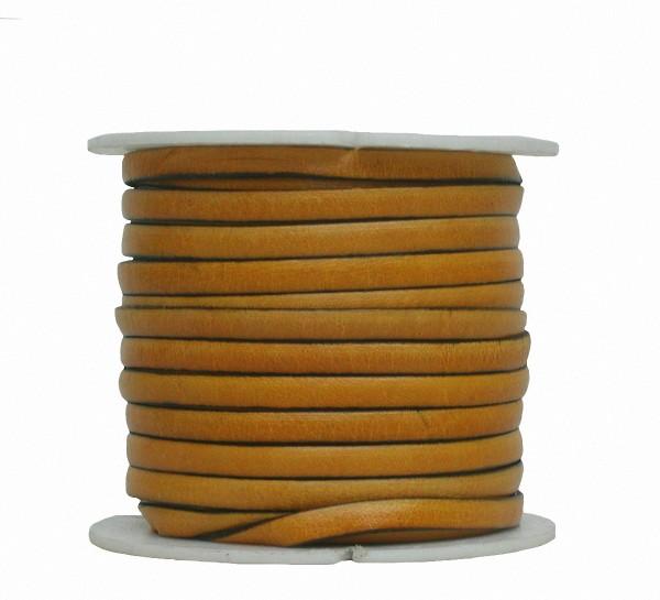 Ziegenleder Lederriemen, Lederband flach gelb, Kanten schwarz gefärbt, Länge 25 m, Breite ca. 5 mm, Stärke ca. 1,0 mm
