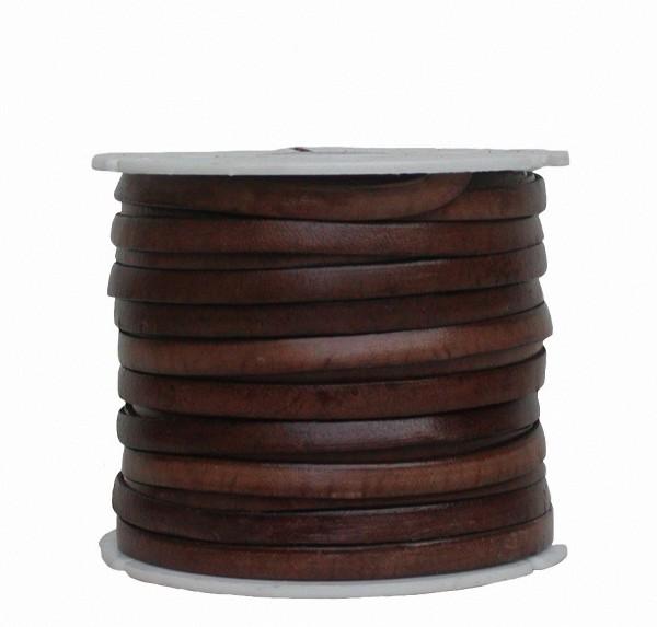 Ziegenleder Lederriemen, Lederband flach dunkelbraun, Kanten schwarz gefärbt, Länge 25 m, Breite ca. 5 mm, Stärke ca. 1,0 mm