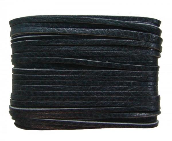 weiches Leder Flechtband Ziegenleder auf Karte schwarz, Länge 10 m, Breite ca. 2,5 mm, Stärke ca. 1,0 mm