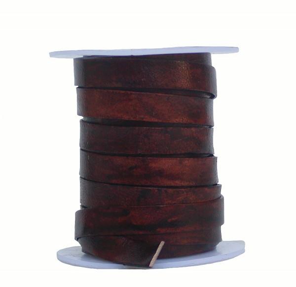 Rindleder Flachband antik im used look cherry braun, Länge 10 m, Breite 10 mm, Stärke ca. 1,3 mm
