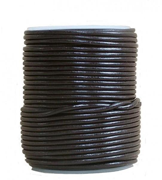 endlos Ziegenleder Rundlederriemen Rolle dunkelbraun, für Lederschmuck, Lederarmbänder, Länge 100 m, Ø 1 mm
