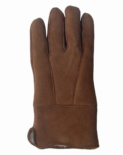 Herren Velourleder Lammfell Fingerhandschuhe aus Fellstücken hellbraun, Herren Fell Handschuhe
