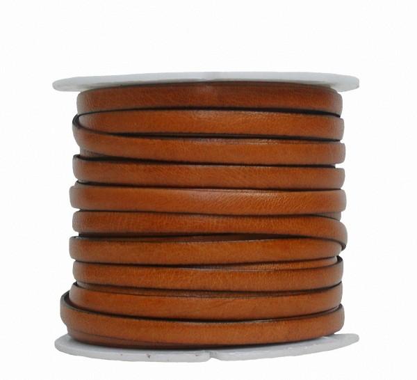 Ziegenleder Lederriemen, Lederband flach hellbraun, Kanten schwarz gefärbt, Länge 25 m, Breite ca. 5 mm, Stärke ca. 1,0 mm