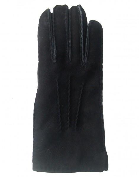 warme Damen, Herren Lammfell Fingerhandschuhe schwarz, Fellhandschuhe, auch zum Krempeln