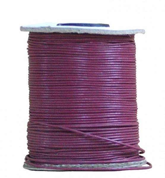 endlos Ziegenleder Rundlederriemen Rolle dunkles rosa, für Lederschmuck, Lederarmbänder, Länge 100 m, Ø 1 mm