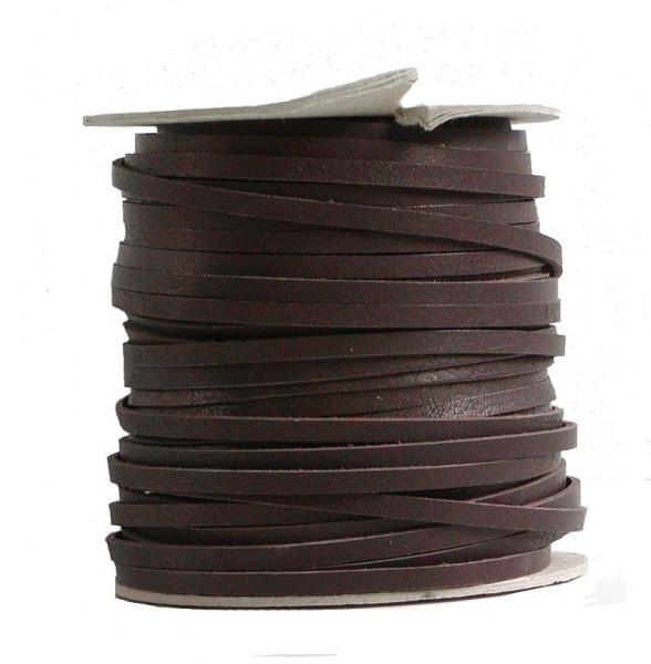 Lederflechtband Büffelleder braun, Länge 50 m, Breite ca. 3 mm, Stärke ca. 1,3 mm
