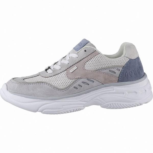 MEXX coole Damen Leder Sneakers blue, Meshfutter, herausnehmbares Fußbett