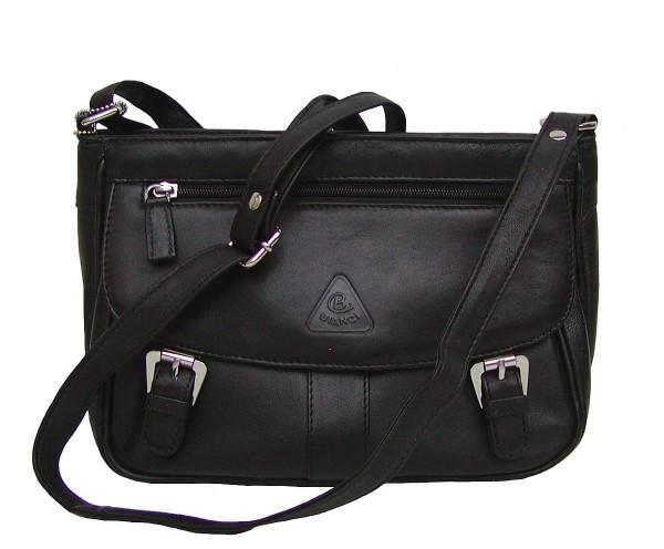 Bianci charmante kleine Damen Leder Umhängetasche schwarz, Leder Schultertasche, 4 Fächer, ca. 28x19x9 cm