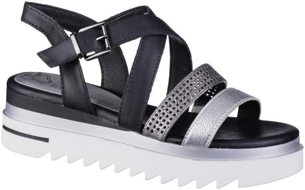 MARCO TOZZI Damen Leder Sandaletten black, Zackensohle, softe Decksohle