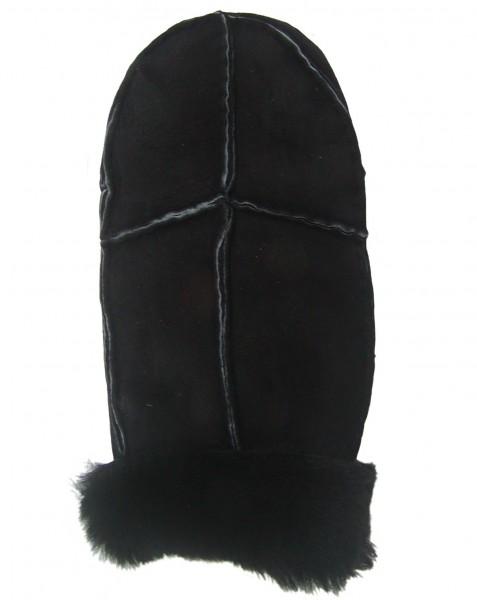 Damen, Herren Patch Velourleder Fellfäustlinge schwarz aus Fellstücken, Leder Fellhandschuhe schwarz