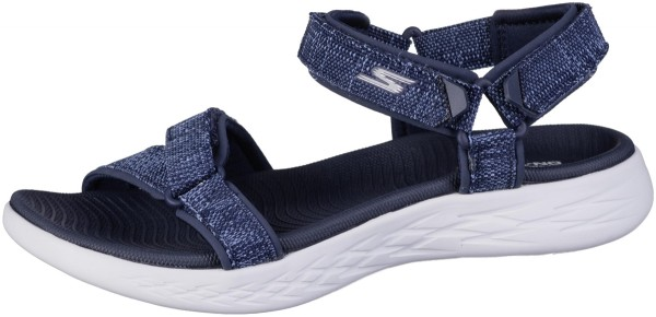 SKECHERS On-The-GO-600 Damen Textil Sandalen navy. weiches GOga Max Fußbett