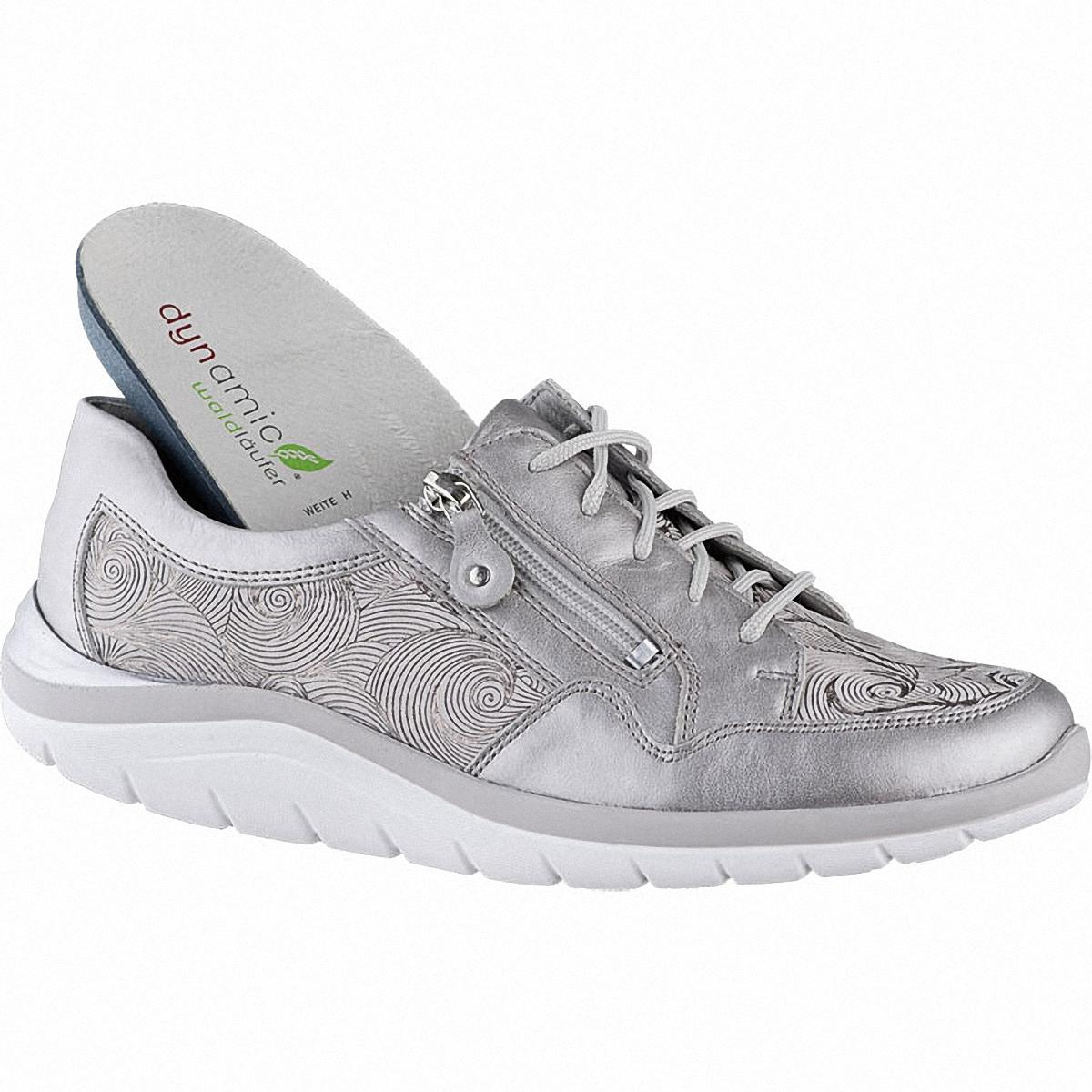 Waldläufer Harper 14 Damen Metallic Leder Sneakers taupe, Leder Fußbett, Extra Weite H, für lose Einlagen