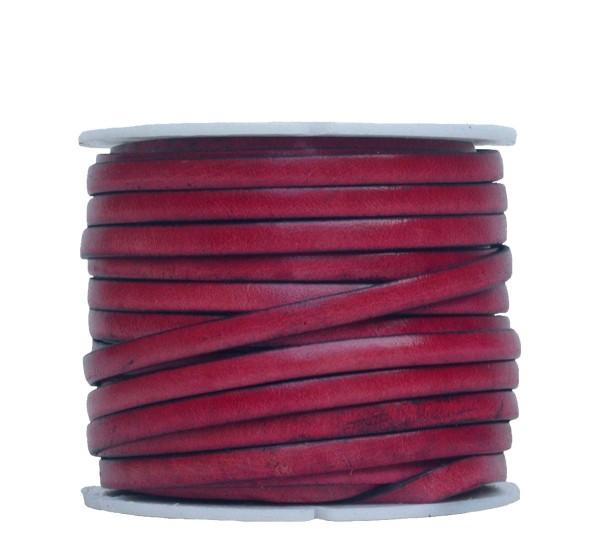 Ziegenleder Lederriemen, Lederband flach rose, Kanten schwarz gefärbt, Länge 25 m, Breite ca. 5 mm, Stärke ca. 1,0 mm