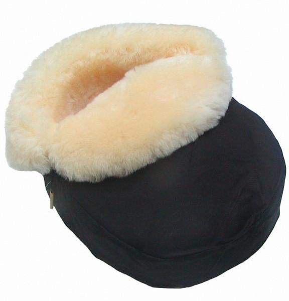 großer Lammfell Fußwärmer schwarz mit Stoff, medizinisch gegerbt, ca. 38x28 cm, Lammfell Fußsack, Lammfell Fußtasche