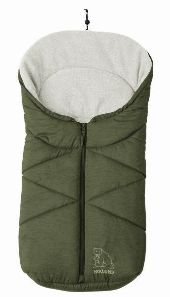 molliger Baby Winter Fleece Fußsack grün meliert, für Tragschalen, Autositze, ca. 79x39 cm, warm wattiert