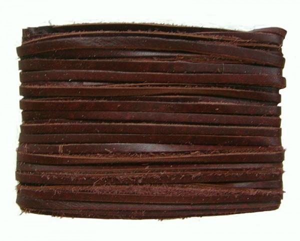 weiches Leder Flechtband Ziegenleder auf Karte dunkelbraun, Länge 10 m, Breite ca. 2,5 mm, Stärke ca. 1,0 mm