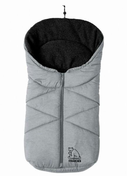 molliger Baby Winter Fleece Fußsack hellgrau meliert, für Tragschalen, Autositze, ca. 79x39 cm, warm wattiert
