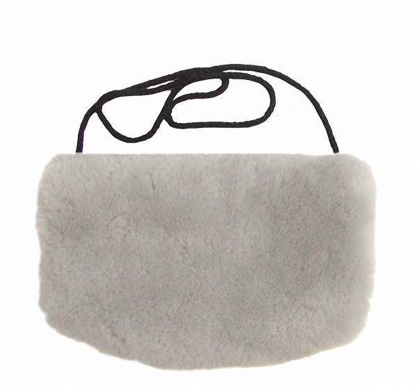 warmer Lammfell Pelzmuff, Felltasche hellgrau mit Reißverschlusstasche waschbar, geschorenes Lammfell, ca. 29,5x19 cm