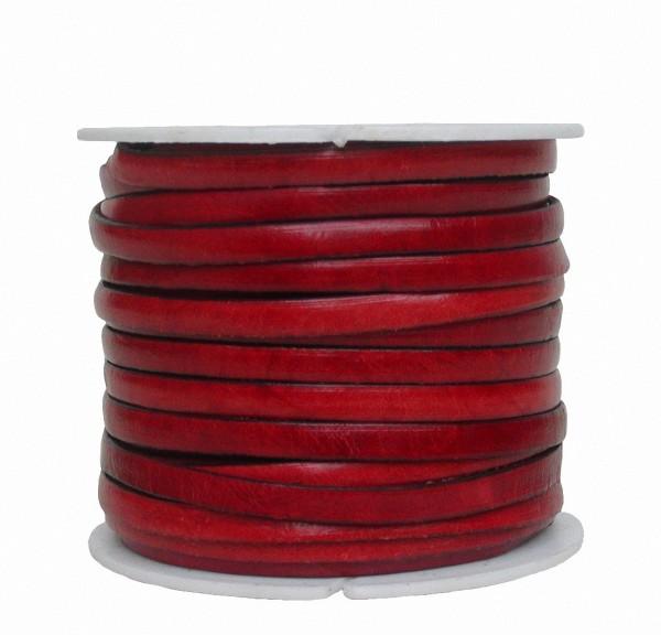 Ziegenleder Lederriemen, Lederband flach rot, Kanten schwarz gefärbt, Länge 25 m, Breite ca. 5 mm, Stärke ca. 1,0 mm