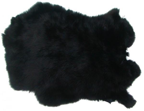 Kaninchenfelle schwarz gefärbt, ca. 30x30 cm, Felle vom Kaninchen mit seidigem Haar