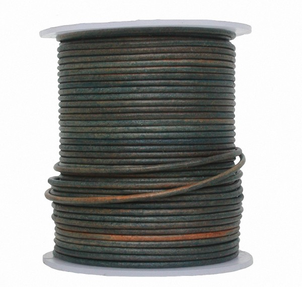 endlos Antik Ziegenleder Rundlederriemen Rolle antik blau used look, für Lederschmuck, Lederarmbänder, Länge 50 m, Ø 1 mm