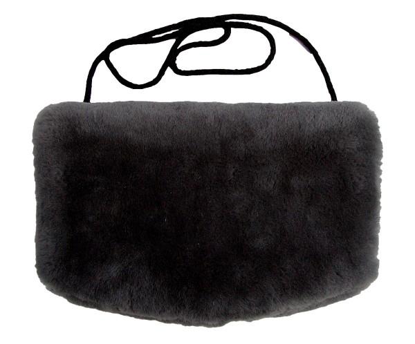 warmer Lammfell Pelzmuff, Felltasche schwarz mit Reißverschlusstasche waschbar, geschorenes Lammfell, ca. 29,5x19 cm