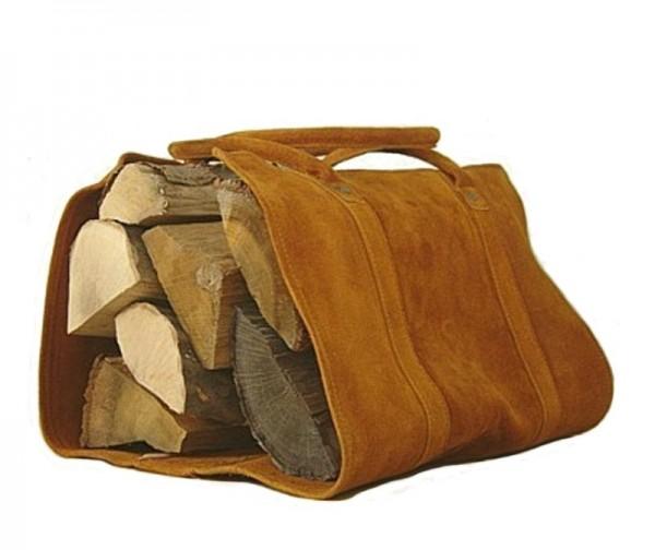 Leder Kaminholztragetasche camel aus Wasserbüffelleder, 84 cm lang, 38 cm breit, bis ca. 11 kg Holz, Kaminzubehör