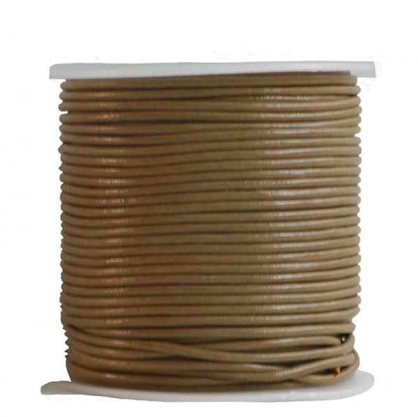endlos Ziegenleder Rundlederriemen Rolle beige glatt, für Lederschmuck, Lederarmbänder, Länge 100 m, Ø 1 mm
