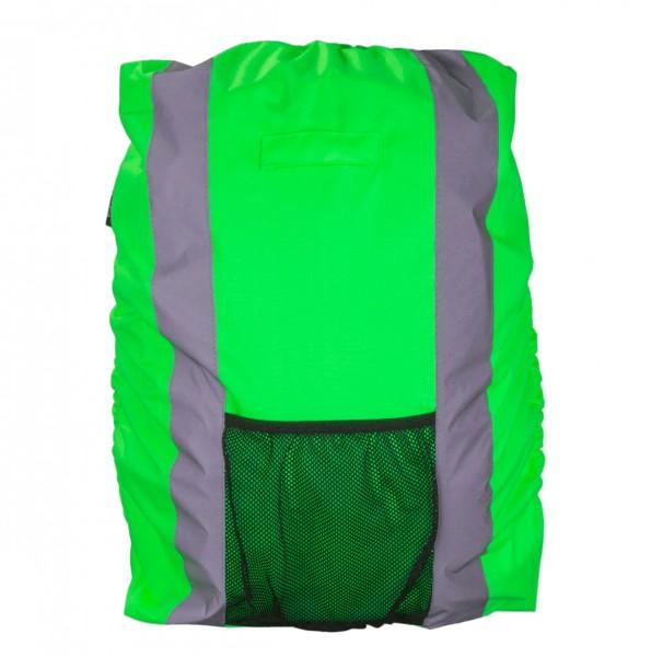Safety Maker Rucksack Regenschutz reflektierend grün wasserbeständig 30 Liter, sichtbar bis 100 m, Rucksack Überzug, Regenhülle