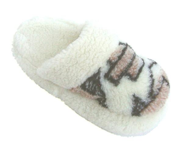 weiche und warme Damen, Herren Schafwoll Hausschuhe, Wollpantoffeln natur-bunt, waschbar, rutschfeste Sohle