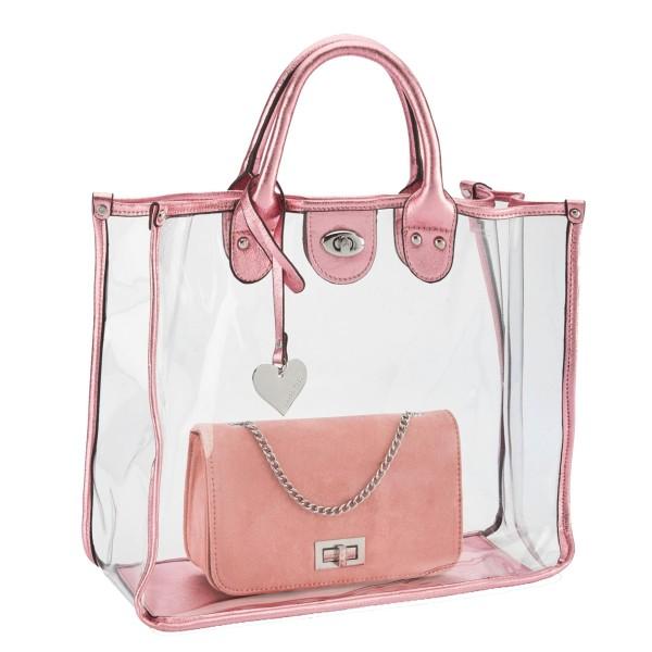Marco Tozzi 2in1 trendige Handtasche + Shopper rosa metallic, mit Tragegriff, 35x30 cm