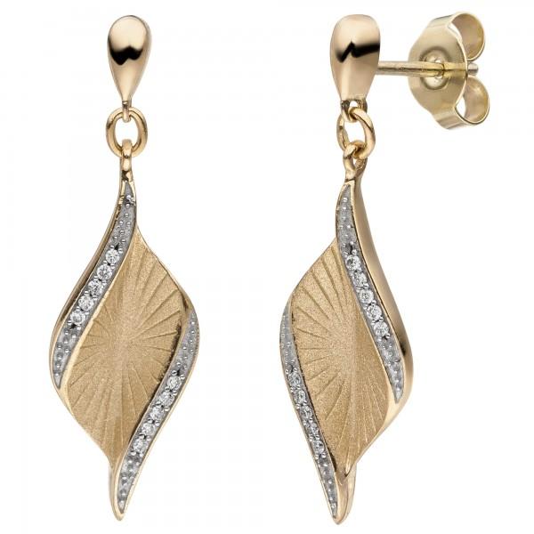 Ohrhänger 585 Gold Gelbgold matt 20 Diamanten Brillanten