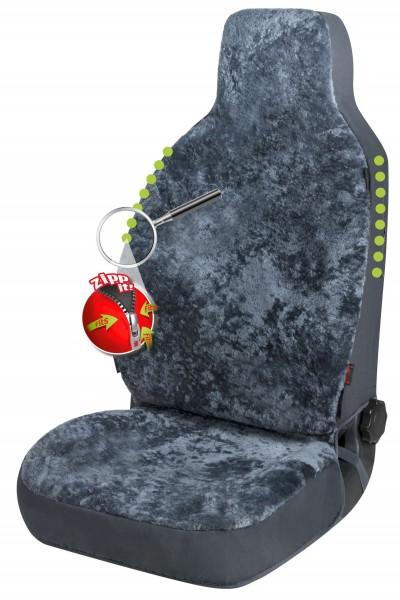Universal Reißverschluss Autositzfelle anthrazit für Highback Sitze, ZIPP IT System, echtes Lammfell, kühlt + wärmt
