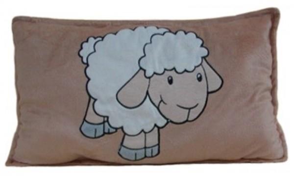 Kinder Kuschelkissen Schaf, Stoffkissen aus Mikrofaser, voll waschbar, ca. 40 cm lang, 25 cm hoch