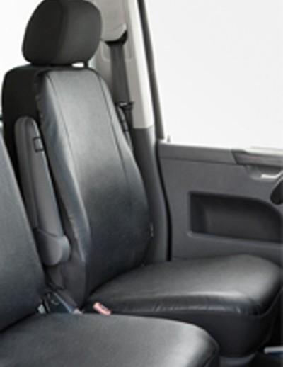Kunstleder Autositzbezug VW T5 anthrazit waschbar, Einzelsitz vorn, Baujahre 04/03-08/09