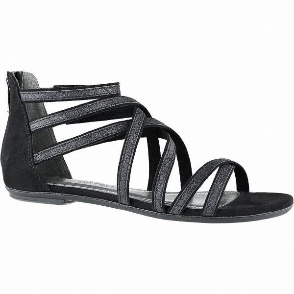 Marco Tozzi modische Damen Synthetik Sandalen schwarz, Fersen Reißverschluss. weiche Decksohle