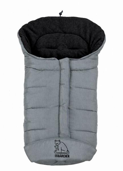 molliger Baby Winter Fleece Fußsack hellgrau meliert, voll waschbar, für Kinderwagen, Buggy, ca. 98x47cm